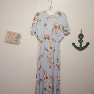 Forever 21 blue floral maxi dress, sz L